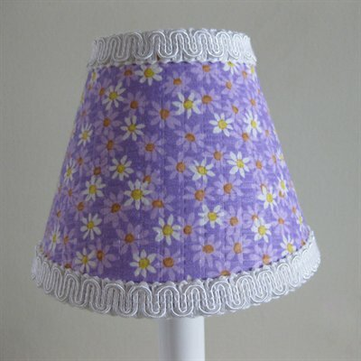 Dancing Daisies 4 H Fabric Empire Candelabra Shade ( Clip On ) in Purple/Yellow