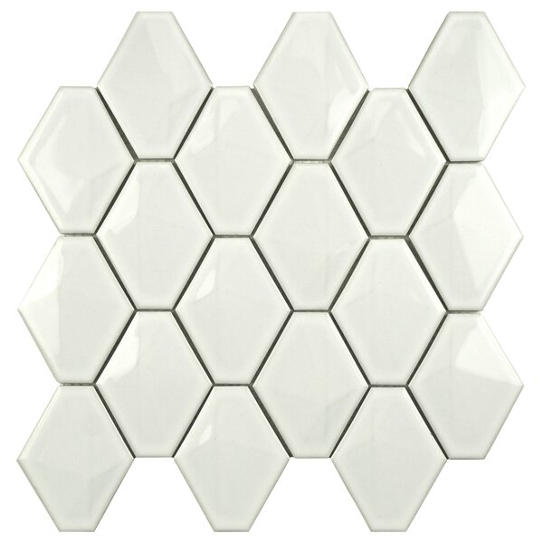 Fractal 3 x 4 Porcelain Mosaic Tile in White by EliteTile