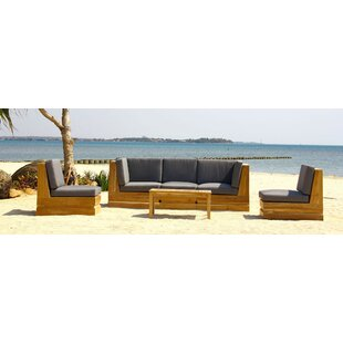 Seaside 5 Piece Teak Sunbrella Sectional Set with Cushions By Trijaya Living