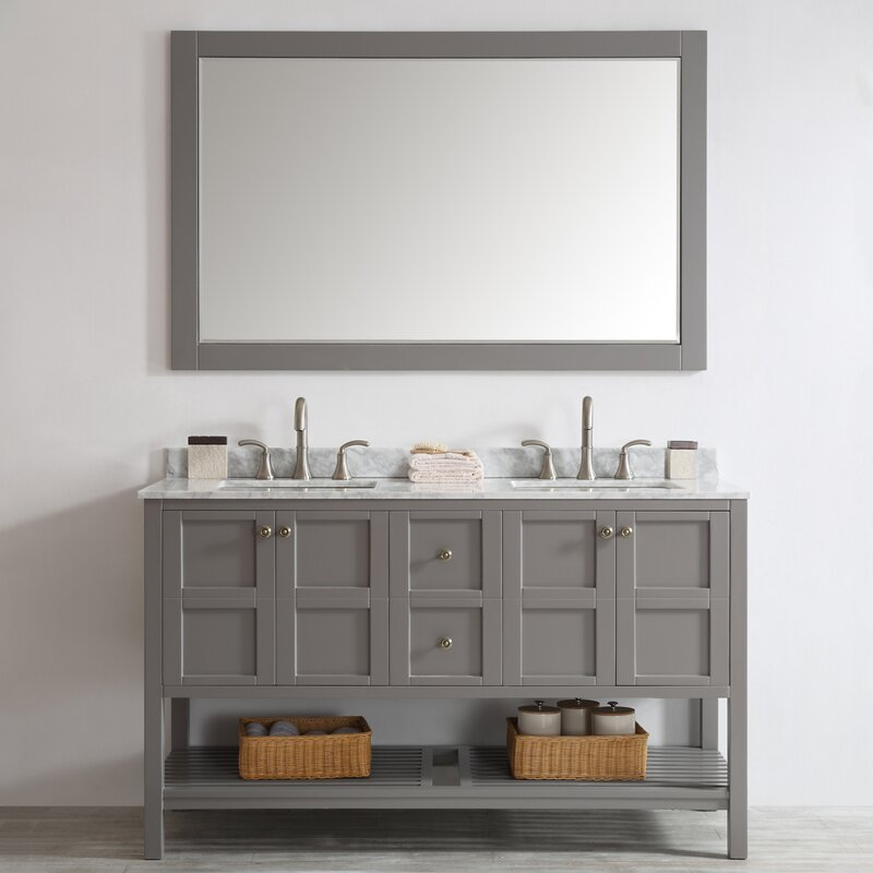 "beachcrest home caldwell 60"" double bathroom vanity set with"