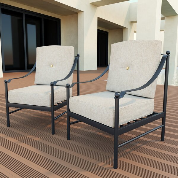Steppe Patio Chair with Cushion (Set of 2) by Red Barrel Studio
