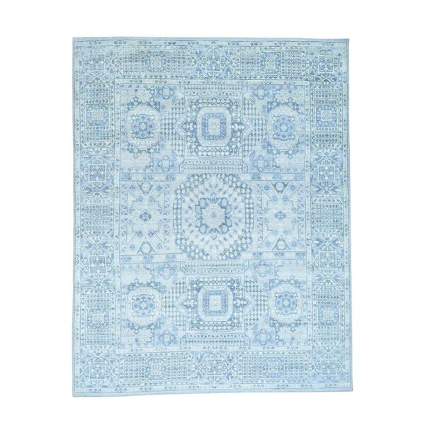 One-of-a-Kind Grasser Overdyed Hamadan Worn Down Hand-Knotted Sky Blue Area Rug by Bloomsbury Market