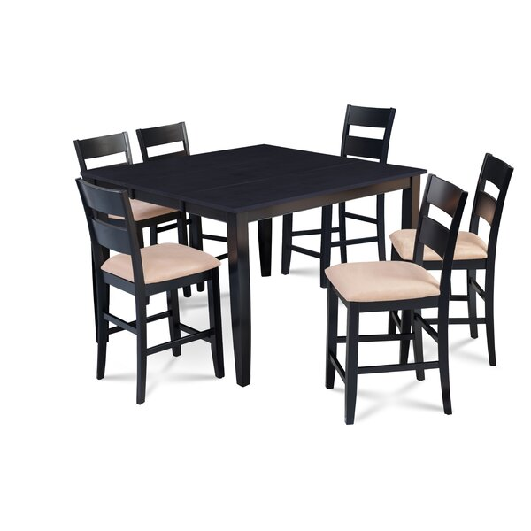 Bennet 7 Piece Counter Height Extendable Solid Wood Dining Set by Alcott Hill