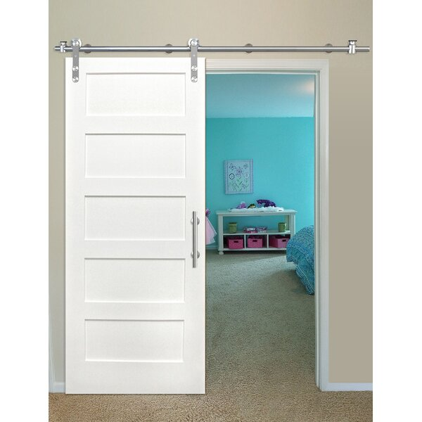 Shaker 5 Panel Primed Solid Wood Panelled Pine Interior Barn Door by Creative Entryways