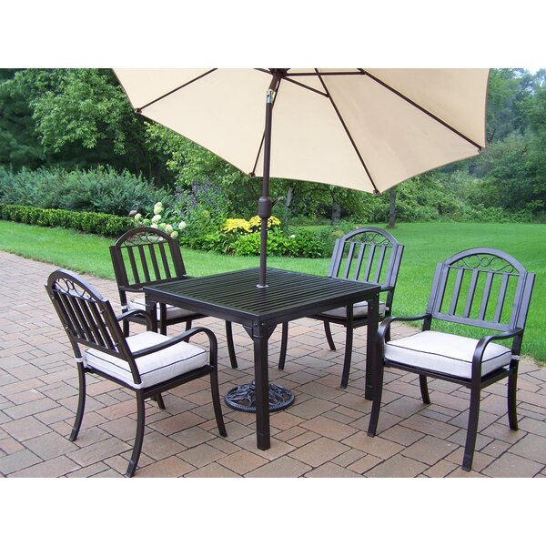 Lisabeth 7 Piece Dining Set with Cushions and Umbrella