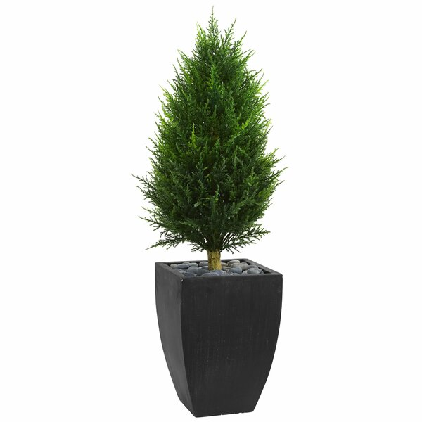 Cone Artificial Floor Cypress Topiary in Planter by Orren Ellis