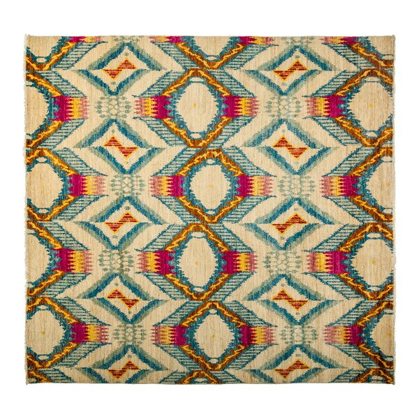 One-of-a-Kind Ikat Hand-Knotted Ivory Area Rug by Darya Rugs