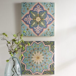 'Moroccan Tile' 2 Piece Painting Print on Canvas Set by VivaTerra