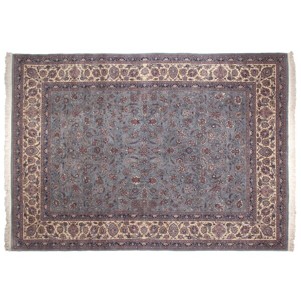 One-of-a-Kind Super Fine Hand-Woven Wool Blue/Ivory Area Rug by Exquisite Rugs