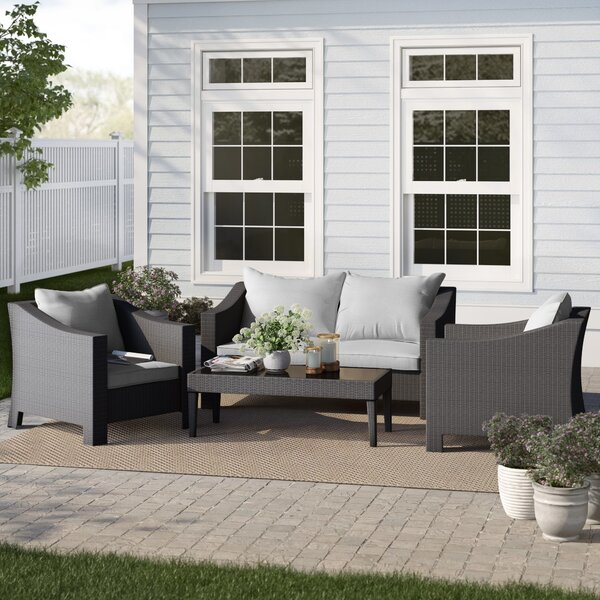 Portola 4 Piece Rattan Sectional Seating Group with Cushions by Sol 72 Outdoor