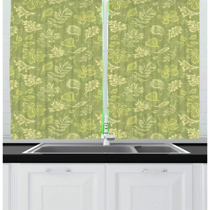 Leaves Demonstration of Various Plantation Leafy Items in Tones of Green  Olive Green Kitchen Curtain
