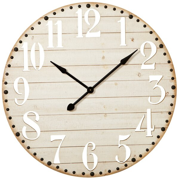 Oversized Elsworth Cut Out Numbers 36 Wall Clock by Gracie Oaks