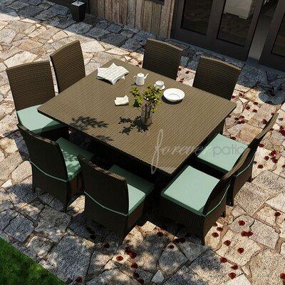 Hampton 9 Piece Dining Set with Sunbrella Cushions Forever Patio Fabric: Canvas Spa / Canvas Spa Welt