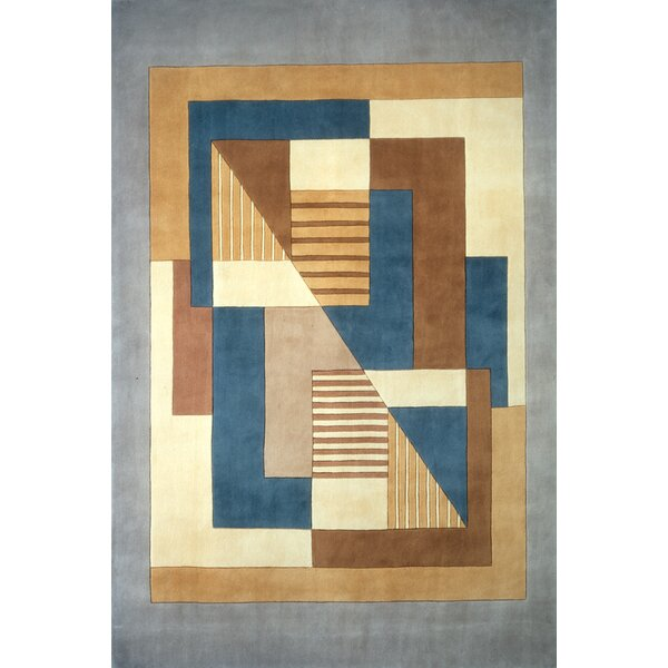 User Hand-Tufted Blue/Brown Area Rug by Ebern Designs