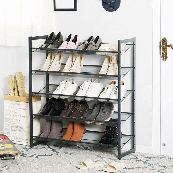 5-Tier Metal Flat/Angled 25 Pair Stackable Shoe Rack