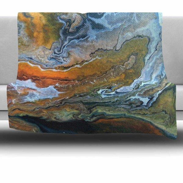 Geologic Veins by Carol Schiff Fleece Throw Blanket by East Urban Home