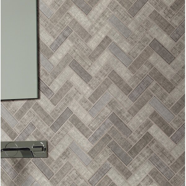 Tektalia 12.8 x 11.02 Glass Mosaic Tile in Gray by MSI