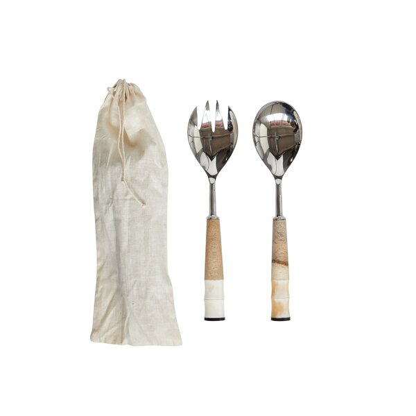 Ivanhoe Stainless Steel Wood and Horn 2 Piece Salad Servers by Rosecliff Heights