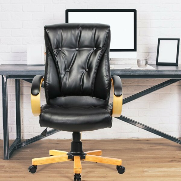 Monti Fashionable Genuine Leather Executive Chair by Latitude Run