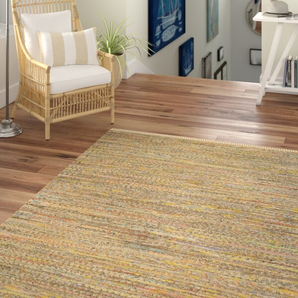 Kellerman Contemporary Hand-Woven Cotton Yellow Area Rug by Beachcrest Home