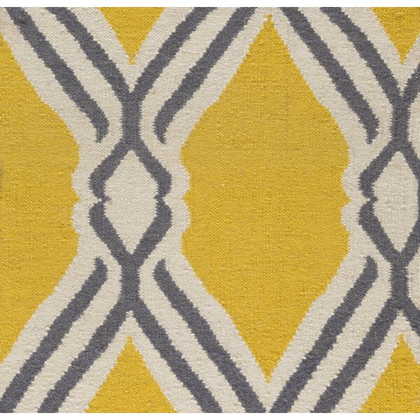 Buttrey Hand-Woven Yellow/Neutral Area Rug by Wrought Studio