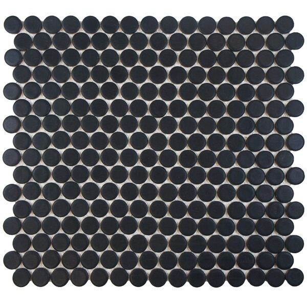 Penny 0.8 x 0.8 Porcelain Mosaic Tile in Matte Black by EliteTile
