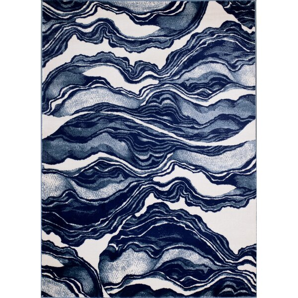 Cretys Marble Linen Area Rug by Wrought Studio