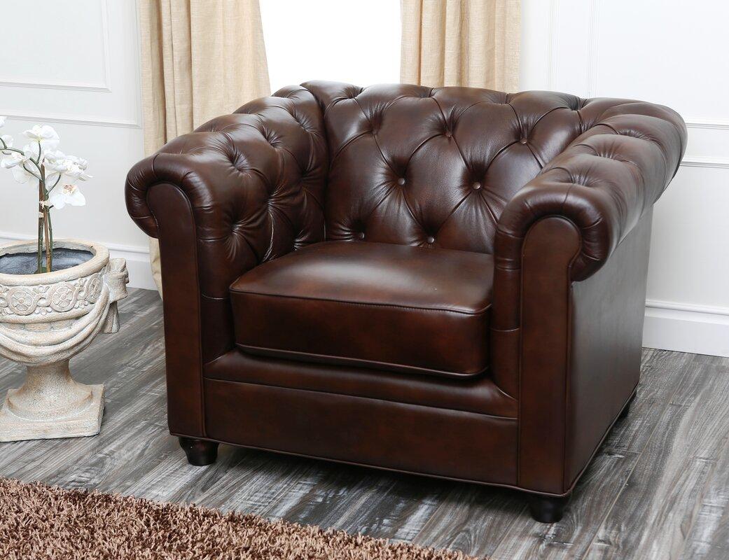 Amazing Galveston Premium Italian Leather Chesterfield Chair