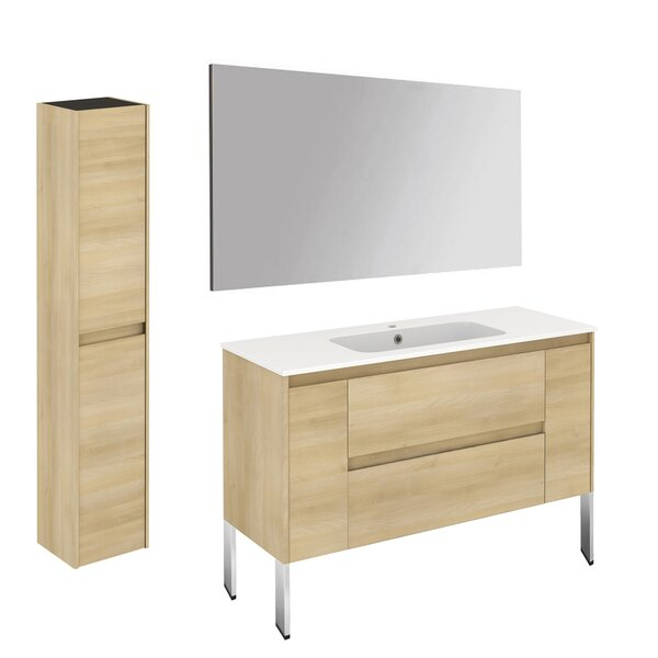 Ambra 47 Single Bathroom Vanity Set with Column and Mirror by WS Bath Collections
