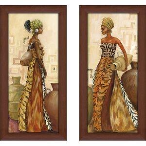 'Safari Fashion I' 2 Piece Framed Print Set by Bloomsbury Market
