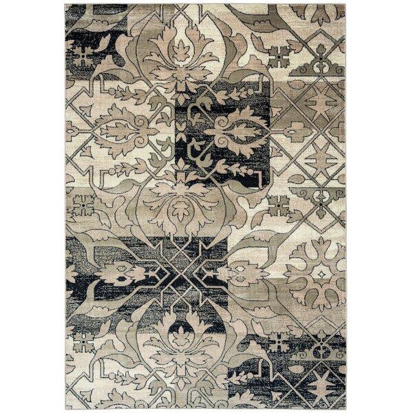 Culver Floral Gray/Black Area Rug by Threadbind