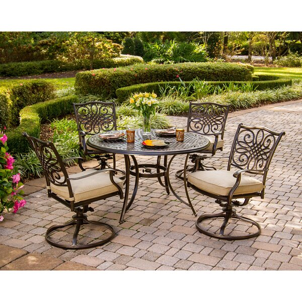 Carleton 5 Piece Dining Set with Cushions by Fleur De Lis Living