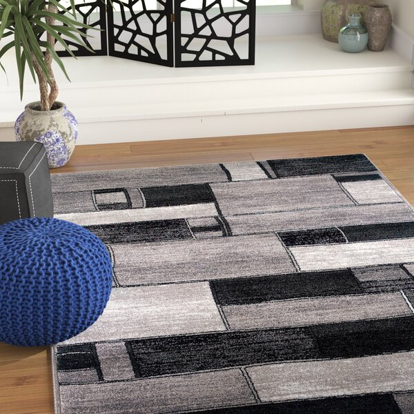 Poston Oblong Blocks Charcoal/Gray Area Rug by World Menagerie