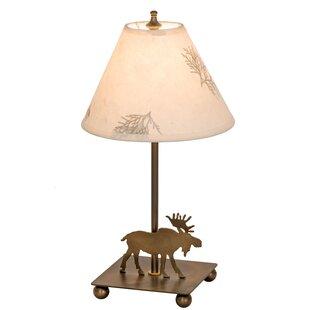 Moose lamps wayfair lone moose pressed flower 14 table lamp aloadofball Choice Image