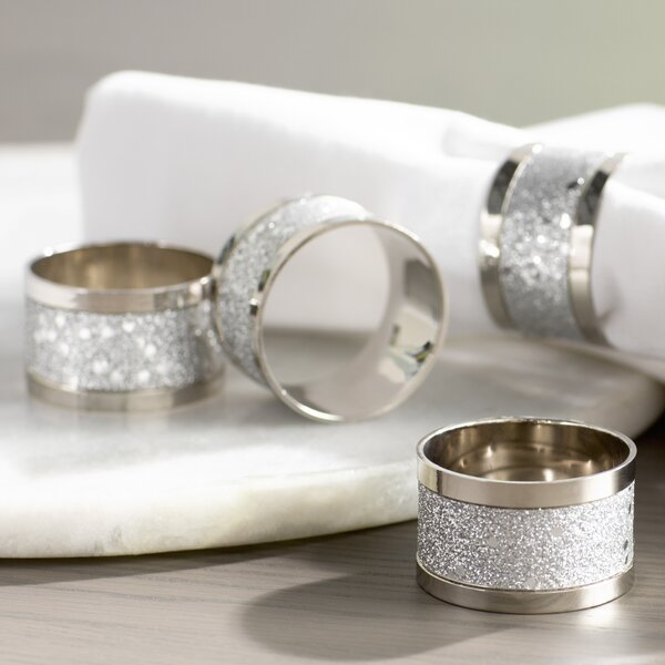 Sparkling Silver Napkin Ring (Set of 4) by Willa Arlo Interiors