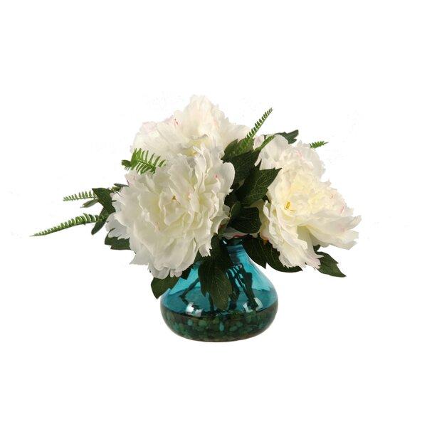 Cream/Pink Peonies in Vintage Blue Garden Vase by D & W Silks