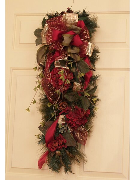 Burgundy and Pine Door Swag by Floral Home Decor