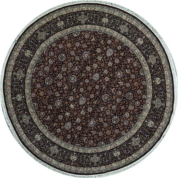 Round Oriental Hand-Knotted Wool Wine/Navy Area Rug