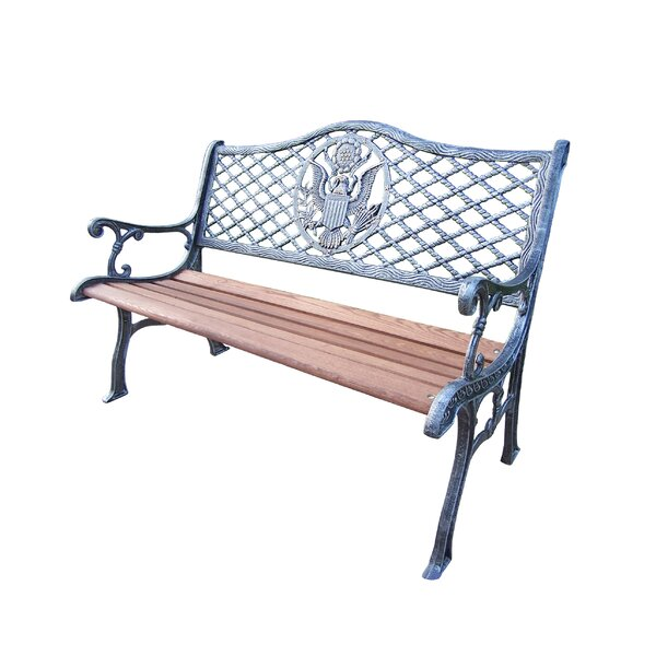 American Eagle Wood and Cast Iron Park Bench by Oakland Living