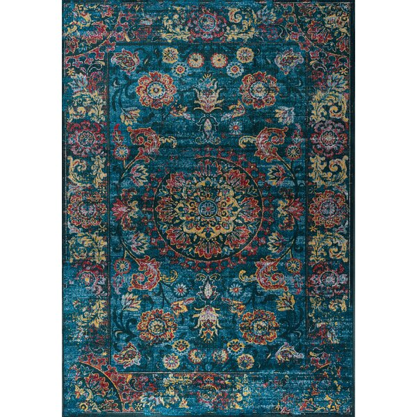 Coletta Vintage Inspiration Border Blue/Red Area Rug by Bungalow Rose