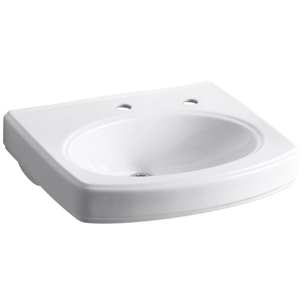 Pinoir Bathroom Sink Basin with Single Faucet Hole and Right-Hand Soap/Lotion Dispenser by Kohler