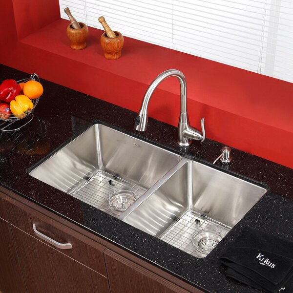 32.75 L x 19 W Undermount Kitchen Sink with Faucet by Kraus