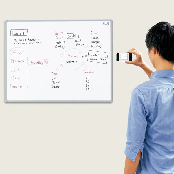 Smartphone Ready Magnetic Whiteboard by Plus Boards