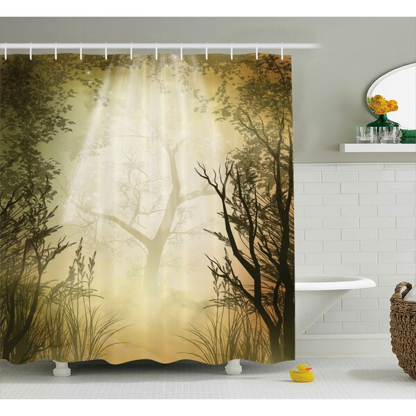 Forest Decor Woven Shower Curtain by East Urban Home