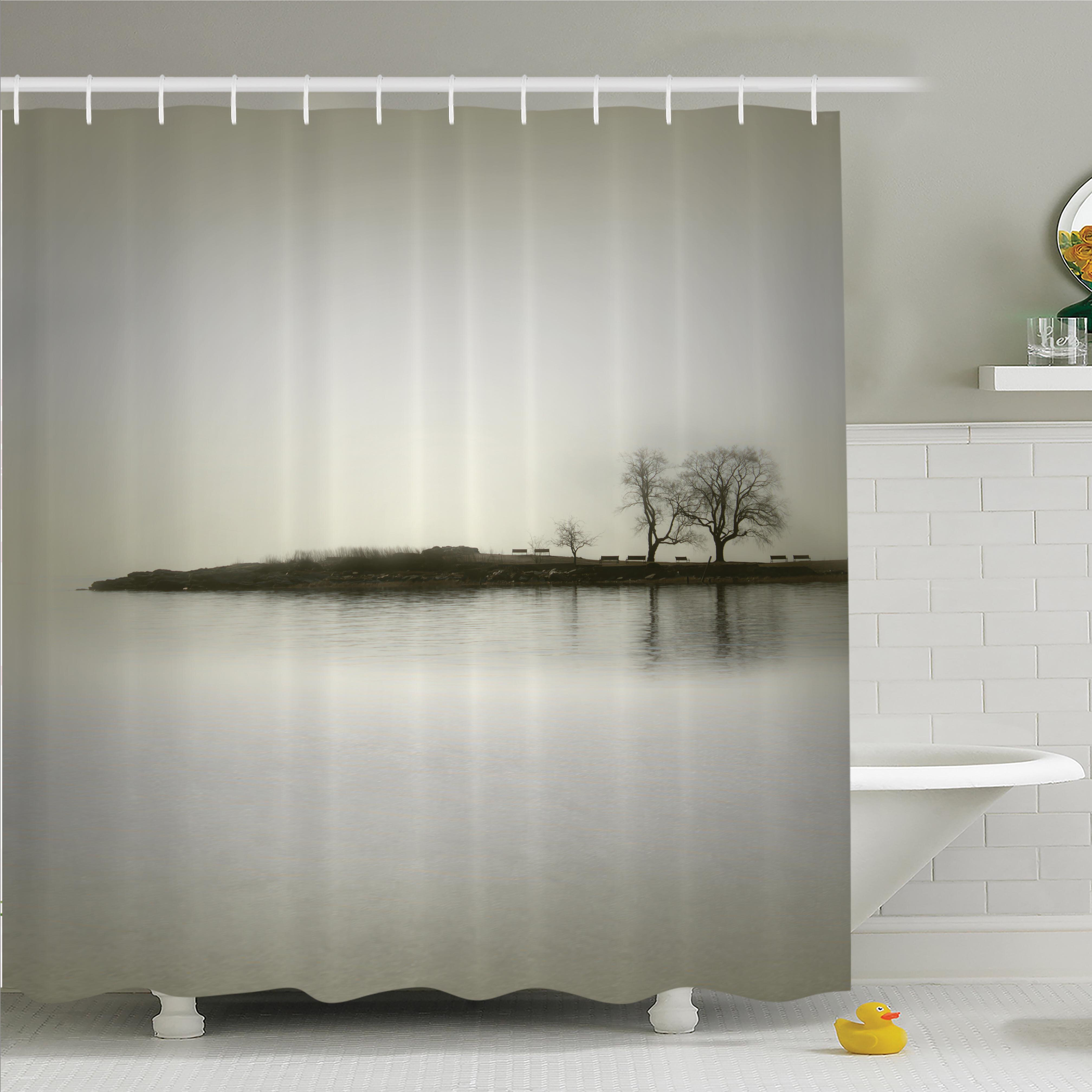 Ambesonne Nature Fall Trees On Island Shower Curtain Set