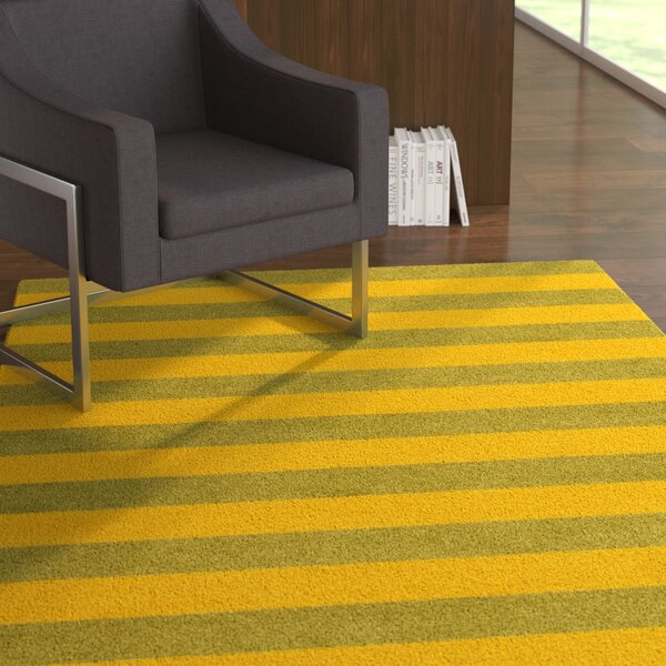 Thuc Stripe Hand-Tufted Wool Olive Green/Gold Area Rug by Latitude Run