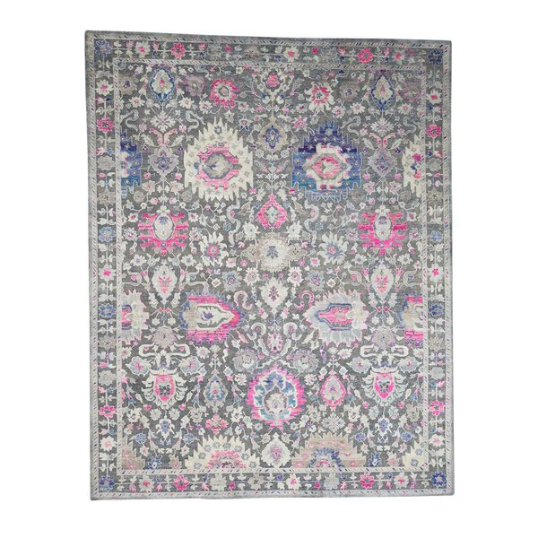 One-of-a-Kind Dilbeck Sari with Oxidized Influence Hand-Knotted Silk Gray Area Rug by World Menagerie