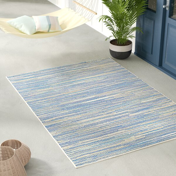 Jasmine Estates Sand/Turquoise Indoor/Outdoor Area Rug by Beachcrest Home