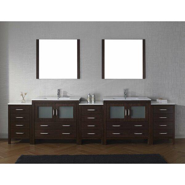 Cartagena 117 Double Bathroom Vanity Set with Ceramic Top and Mirror by Mercury Row