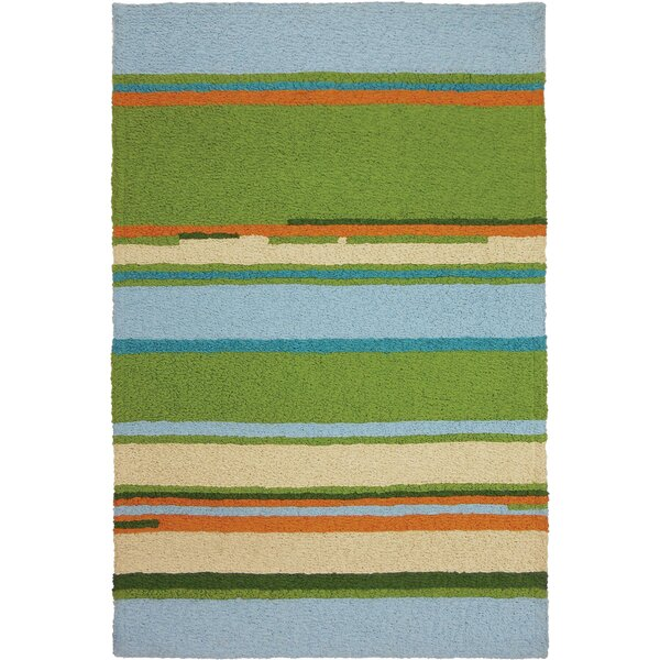 Carbone Patio Stripes Hand-Hooked Green/Blue Indoor/Outdoor Area Rug by Highland Dunes